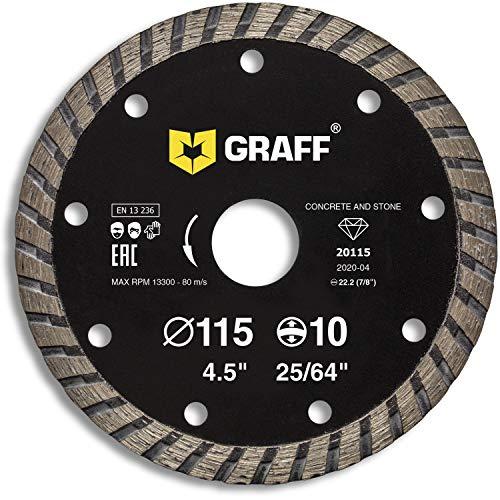 GRAFF Disco Diamantato 115 Mm Per Smerigliatrice Angolare - Disco Da Taglio Turbo Per Cemento, Marmo, Piastrella, Ceramica, Pietra, Mattoni, Calcestruzzo, Gres Porcellanato - 4.5 Inch
