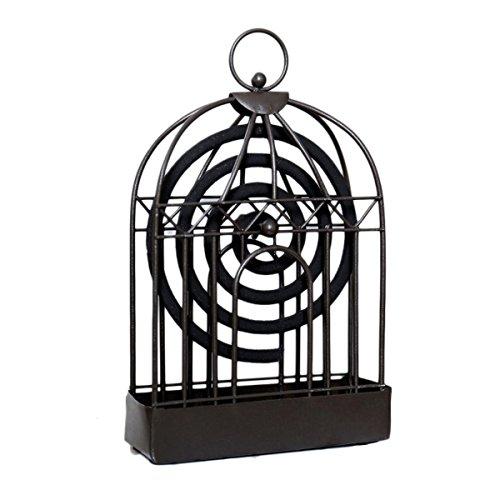 VOSAREA - Portaincienso antimosquitos de hierro retro forma jaula pájaros, decoración de mesa con asa (negro)