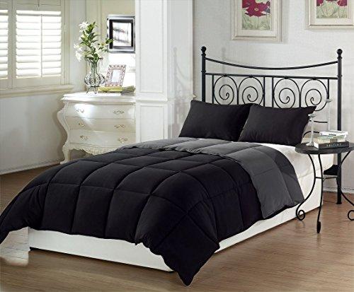 Chezmoi Collection 3-Piece Black Grey Super Soft Goose Down Alternative Reversible Comforter Set, Queen/Full Size