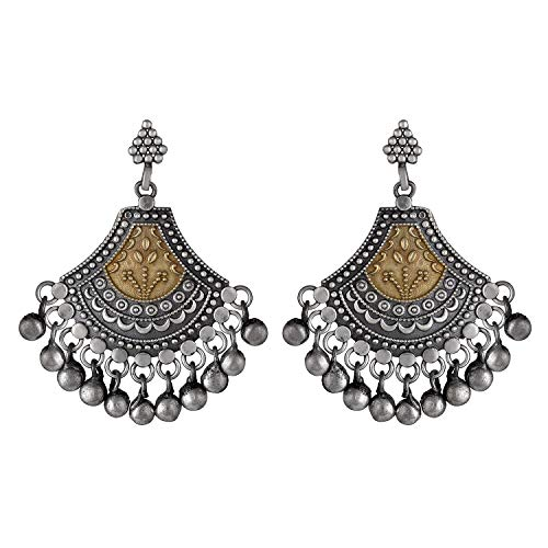 Aheli Boho Oxidized Intricate Crafted Dangle Earrings Set Ethnic Indo Western Victorian Style Fashion Jewelry for Women Girls