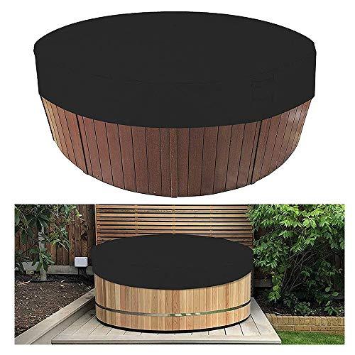 HOXMOMA Runde Whirlpoolabdeckung wasserdicht, Patio Whirlpool-Schutz, Außen-Spa-Wannenabdeckungen, 100% UV-beständige Winddichte Badewannenabdeckung mit elastischer Saumschnur,Schwarz,210x30cm