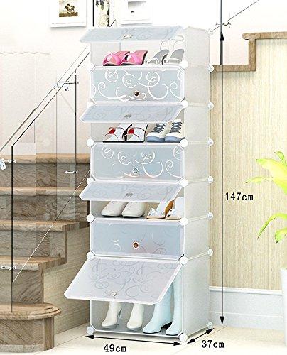 Chaussure Fashion Creative Résine Plastique Rack De Stockage, Combinaison De Grande Capacité Multifonctions Boîte De Stockage, Multi-Store Shelf Dust-Proof Shoe Cabinet (Taille : 49 * 37 * 147cm)