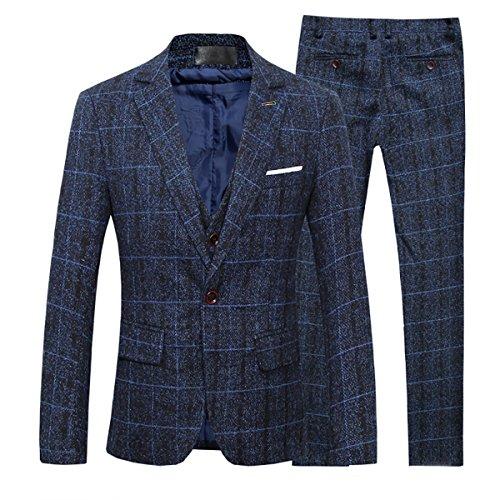 Cloudstyle Anzug Herren Slim Fit 3 Teilig Karriert Tweed Herrenanzug 3-Teilig Anzüge für Business Hochzeit Dunkelblau L