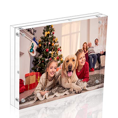 NIUBEE Acrylic Picture Frame 5x7, 20% Thicker Block Clear Double Sided Photo Display with Gift Box Package