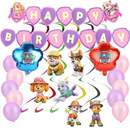 YNK 19 Stück Paw Patrol Partyzubehör, Luftballons Party Dekoration, Paw Patrol Geburtstag Dekoration Set mit Spirale Partykette, Banner für Kinder Babyparty Hochzeits