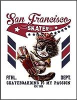 【スケートボードをする猫 ねこ】 余白部分にオリジナルメッセージお入れします!ポストカード・はがき(白背景)