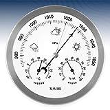 MAVORI Estación meteorológica analógica para Interior y Exterior con Marco de Acero Inoxidable en un diseño Elegante, Que Consta de barómetro, higrómetro y termómetro (1)