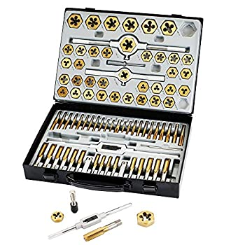 Muzerdo 86 Piece Tap and Die Set Bearing Steel Sae and Metric Tools Titanium Coated with Metal Carrying Case