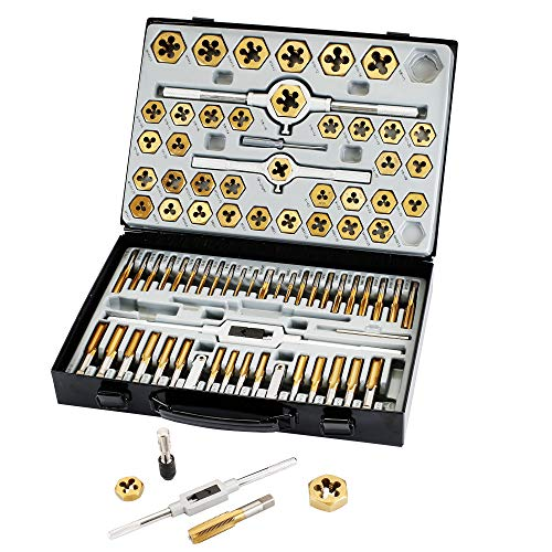 Muzerdo 86 Piece Tap and Die Set Bearing Steel Sae and Metric Tools, Titanium Coated with Metal Carrying Case