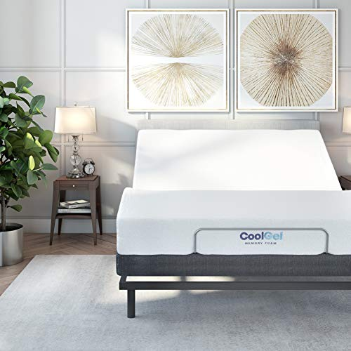 Classic Brands Comfort Upholstered Adjustable Bed Base with Massage, Wireless Remote, Three Leg Heights, and USB Ports-Ergonomic, Queen, Black