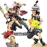 wdsheng 4 Unids / Set Anime One Piece Figura 20 Aniversario Luffy Ace Whitebeard Kata Kuri 15-24Cm, Figura De Acción De PVC Modelo Coleccionable Juguetes