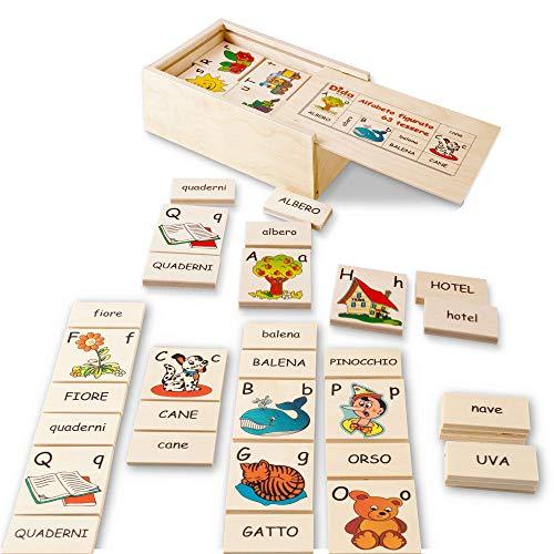 Dida - Alfabeto Figurato 63 Tessere - Ideale per associare Le Parole alle Immagine, Imparare a Leggere e Scrivere con l'alfabeto Italiano.