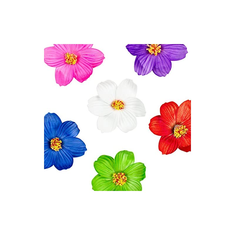 silk flower arrangements super z outlet hula girl paper foam hibiscus color assorted flower lei hawaiian island rainforest theme hair clips for costume, birthday party favors, event decoration supplies (12 pack)
