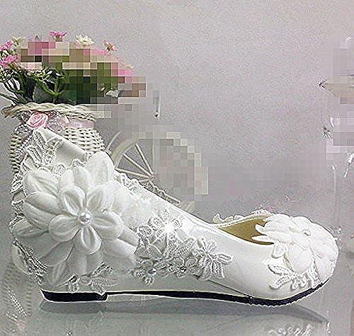 JINGXINSTORE Bouquet de Perles Blanches en Forme de Fleurs pour Mariage, Chaussures de Mariage, Pompes Cristal Taille 5-10,5