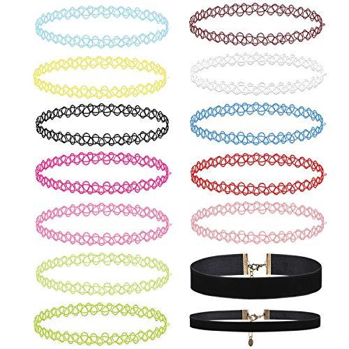 BodyJ4You 14PC Choker Necklace Henna Tattoo Stretch Elastic Jewelry Women Girl Jewelry Gift Pack