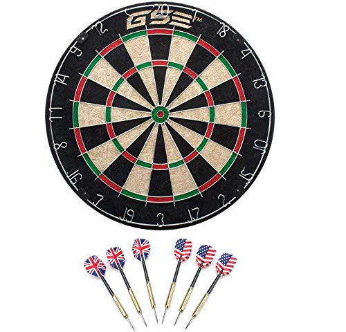GSE Games & Sports Expert Regulation Size Dart Board Game Set with Darts (3 Styles Available) (Professional Bristle Dartboard Set)
