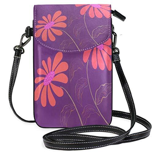 XCNGG Monedero pequeño para teléfono celular Daisy Flowers Pattern Pink Purple Cell Phone Purse Wallet for Women Girl Small Crossbody Purse Bags
