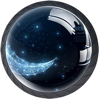 Moon - Juego de 4 tiradores de cajón con forma de cristal para armarios cajones con tornillos para el hogar y la oficina