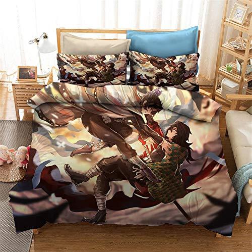 Meiju Duvet Cover Set for Boy Girl Single Double King Bed, 3D Printed Teenager Children Kids Bedding Set with Microfiber Zipper Quilt Case & Pillowcases (Demon Slayer 5,220x260cm)