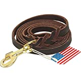 Leather Dog Leash 6ft - Braided Heavy Duty Leather Dog Training Leash with Copper Hook for Large Medium Small Dogs Training & Walking