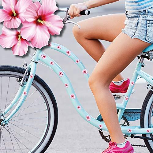Wandtattoo Loft Fahrradaufkleber 35 STK. Hibiskusblüten Rosa Fahrrad Sticker Fahrraddesign Kinderfahrrad