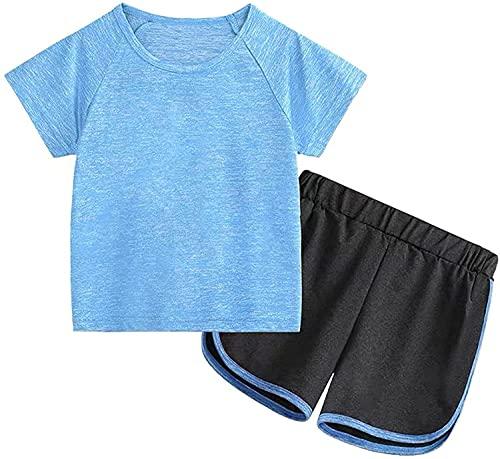 Kinder Trainingsanzug Sommer Mädchen Jungen Sportanzug Kontrast Neon Schwarz Zweifarbig Kurz Jogginganzug Sportanzug (Blau, 140)