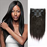 Yaki Straight Remy Hair Clip In Hair Extensions 8A Grade 100% Real Thick Hair Italian Fashion Curly Clip Ins Natural Color Full Head African Americans For Black Women 7pcs/set 120g/set 12 Inch