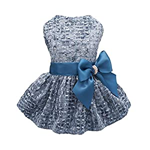Fitwarm Embroidery Dog Dresses Pet Clothes Puppy Prom Dress Cat Birthday Party Gown Blue Large
