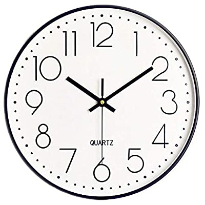 Foxtop 12 inch Silent Non-Ticking Quartz Decorative Wall Clock Battery Operated with Arabic Numbers Display