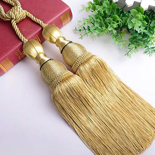 LIUJUAN Gardin slips tillbaka [dubbel boll sträng lastning och skicka krokar] gardin hängande boll dubbla bollar band band rep enkel modern vild kreativ vardagsrum-guld gul (2 paket)
