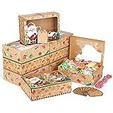 lemeso boîte à biscuits de noël, 12 pièces boîtes à gâteaux avec fenêtre, boite noël en papier