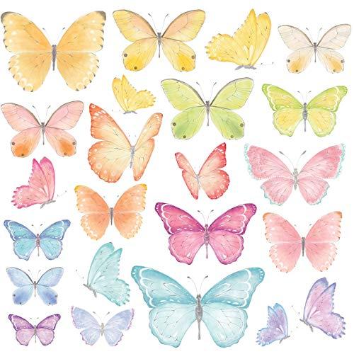 DECOWALL DS-8037 Mariposas pastel (Pequeña) Vinilo Pegatinas Decorativas Adhesiva Pared Dormitorio Saln Guardera Habitaci Infantiles Nios Bebs