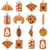YEYULIN 48 Pieces Handmade Simulation food Croissant French Bread Toast Pendant Charms 16 designes...