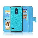 for LG K10 2018 K10+ Plus K10a K30 Premier PRO Case Phone Case Glitter Wallet Mag Mount Ready Detach Bumper Extra Pocket Hybrid Screen Flip Cover (Teal)