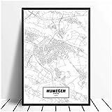 MZYZSL Nijmegen, Niederlande Schwarz Weiß Karte Poster