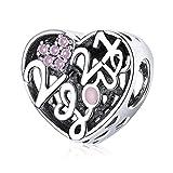 ZiFouDou Abalorios de Plata de Ley 925 Compatible con Pulsera Pandora Dijes Originales Charms- Confesión De Amor Corazón