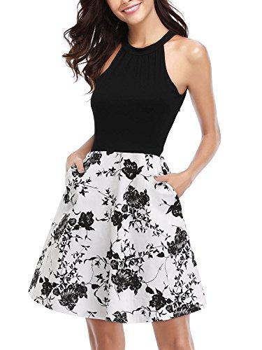 MSBASIC Women's Off The Shoulder Dress Sleeveless Floral Cocktail Dress White XL