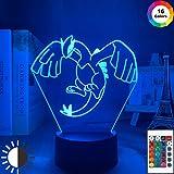 Acrylique Lugia Figure Kid Jeu Pokemon Go Lugia Night Light 3D LED Lampe de Table enfants cadeau d'anniversaire décoration de la chambre de chevet