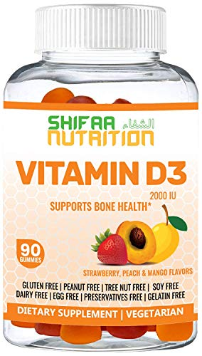 SHIFAA NUTRITION Halal & Vegetarian Vitamin D3 Gummies | Healthy Bones, Muscle & Immune System | Helps Against Osteoporosis | 2000 IU | Gelatin, Gluten & Dairy Free | Halal Vitamins | 45 Servings