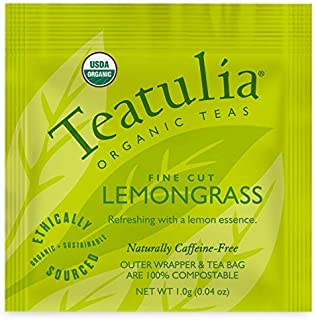 Sponsored Ad - Teatulia Organic Lemongrass + Bay Leaf Tea Herbal 50 Individually Wrapped Tea Bags - Compostable Tea Bags