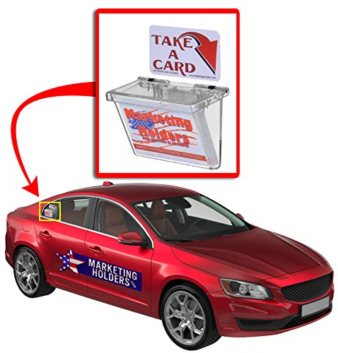 Marketing Holders Clear Outdoor Vehicle Business Card Holder with High Strength Velcro Free (TAKE A Card) Sticker Included as Pictured