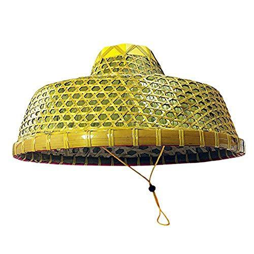 SUNNYHILL Chinese Natural Bamboo Braid Hats Ancient Big Hat Fishing Hat Yellow