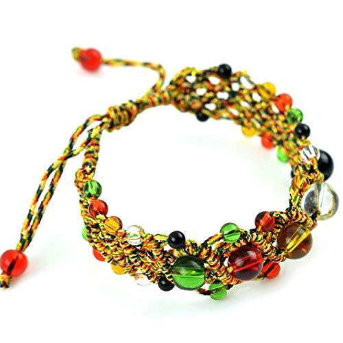 Shability Unisex Original 5 Candy Colored Crystal Beads Cotton-linen Rope Bracelet Handmade Lucky Ethnic Jewelry yangain