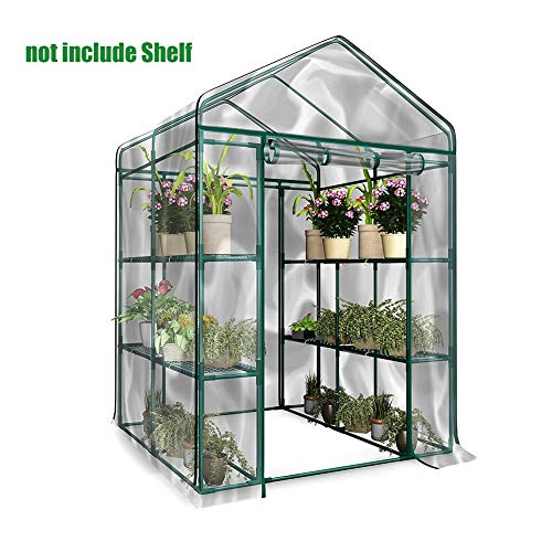 ZABB Garden Greenhouse with PVC Zip Cover Frame is Not Included Walk-in Plant Flower Greenhouse for Outdoors Terrace Backyard Plastic 3-Tier 8 Shelves Reinforced Metal Frame Green House Patio