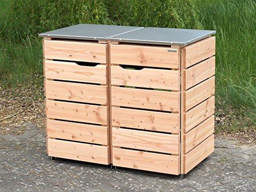 2er Mülltonnenbox 240 L, Holz / Edelstahl - Deckel, Douglasie Natur