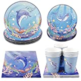 Cieovo Ocean Sea Life Dolphin Party Pack, Serves 16 Guest -Including Dinner Plates, Luncheon Napkins and Cups Supply Tableware Set Kit for Underwater World Creatures Dolphin Theme Party Decorations