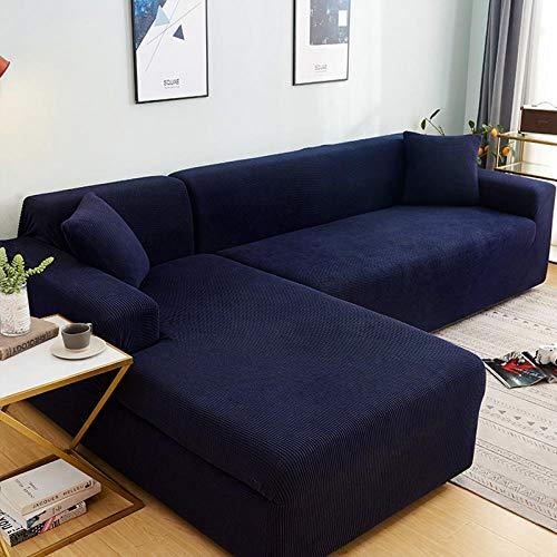 Fundas Decorativas para Sofas Antideslizante 4 plazas, Juego de Fundas de sofá de Esquina de Color sólido para Sala de Estar, Fundas de sofá elásticas, Toalla de sofá elástica, sofá en Forma de L