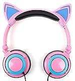 DURAGADGET Casque Audio Rose Lumineux Compatible avec Rockit Twist Vtech Console de Jeu Enfant, Kidizoom Pixi Vtech Camera Selfie/Appareil Photo - Oreilles de Chat