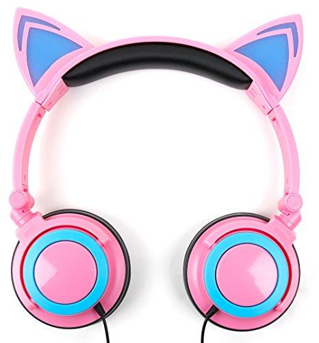 DURAGADGET Auriculares Plegables estéreo con diseño de Orejas de Gato en Color...