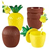 8 Piezas Tazas de Bebida de Coco Vasos de Bebida de Piña con Pajita de Flamenco Fruta para...